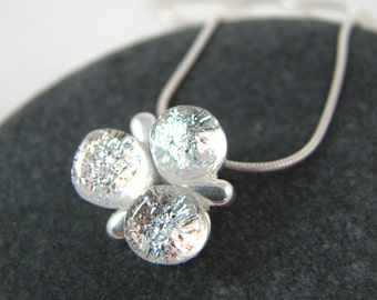 Petite Necklace - Fused Glass and Silver - Trinity in Silver Frost