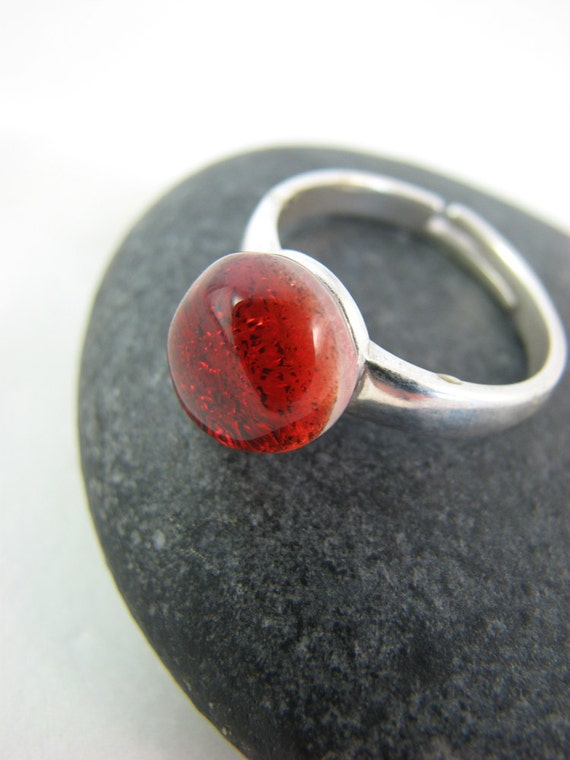 Ready to Ship: Fused Glass and Silver Ring - Sunset Orange - Adjustable Sterling Silver