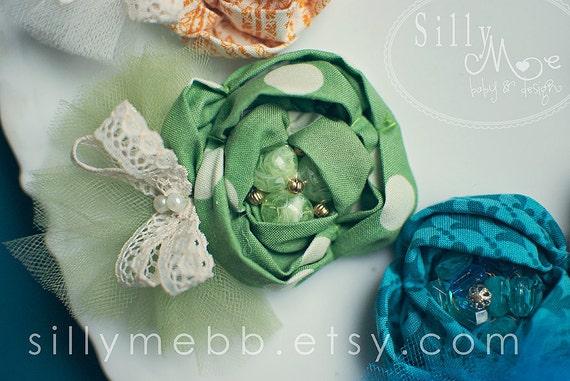Green Pretty- Vintage inspired Clip or Headband