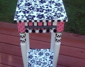 Hand Painted 12 x 12 Accent  Side Table - pink black flowers - pom pom trim