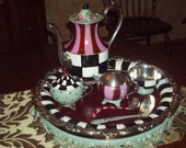 Custom Hand Painted Silver Tea Set