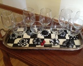 Hand Painted Black and White Inspirational Glassware