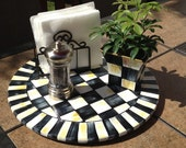 "Hand Painted 15""  Black and White Checked Lazy Susan - paintingbymichele"