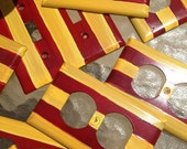 DOUBLE - Hand Painted Red and Yellow Striped Switchplates, Wall Plates, Outlet Covers