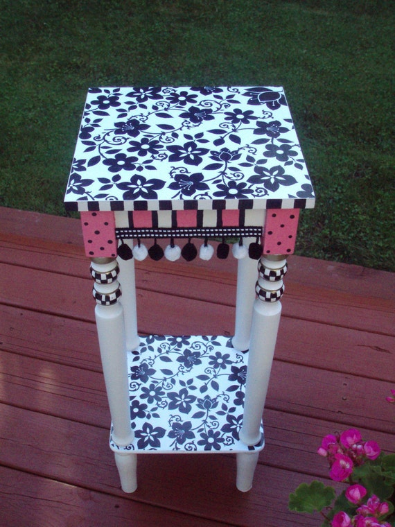 Whimsical painted table, Alice in wonderland table, Custom painted table