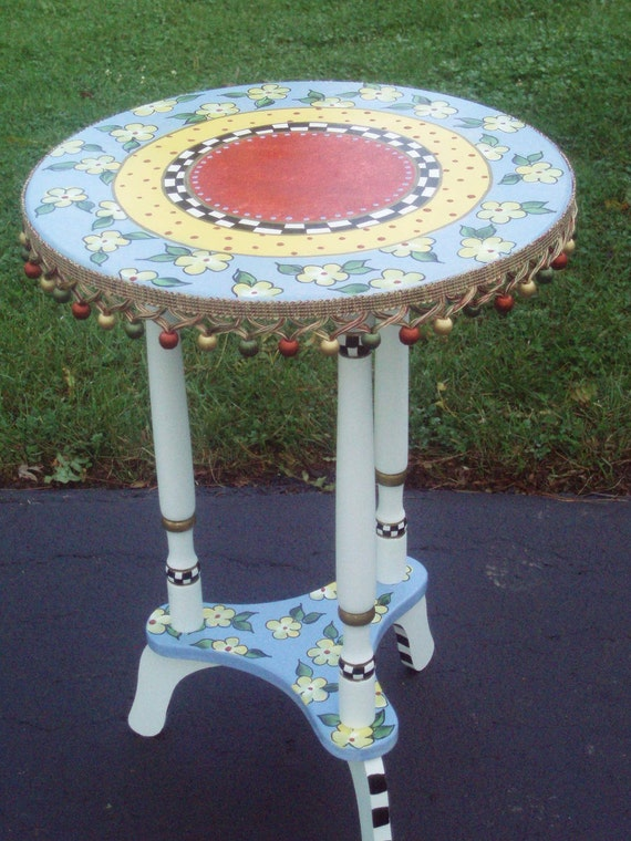 Items similar to hand painted round top accent side table