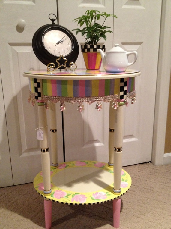 Hand Painted Oval Harlequin Pastel Table