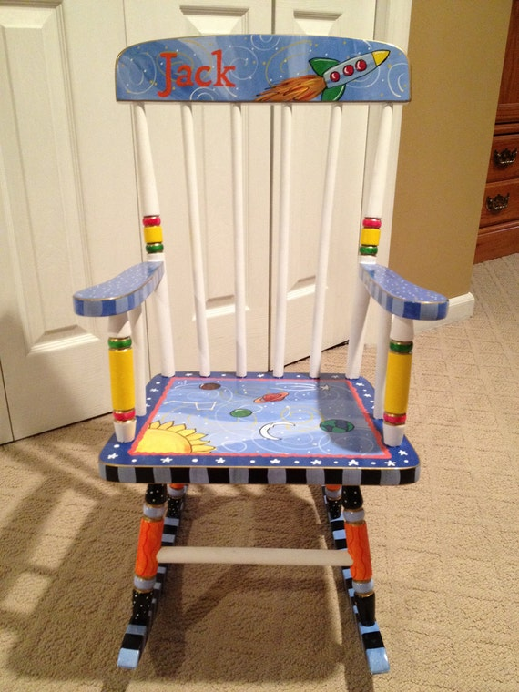 Whimsical Painted Furniture Painted Childs Rocking Chair
