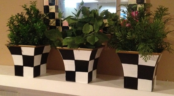 Hand Painted Black and White Herb Pots - Planters