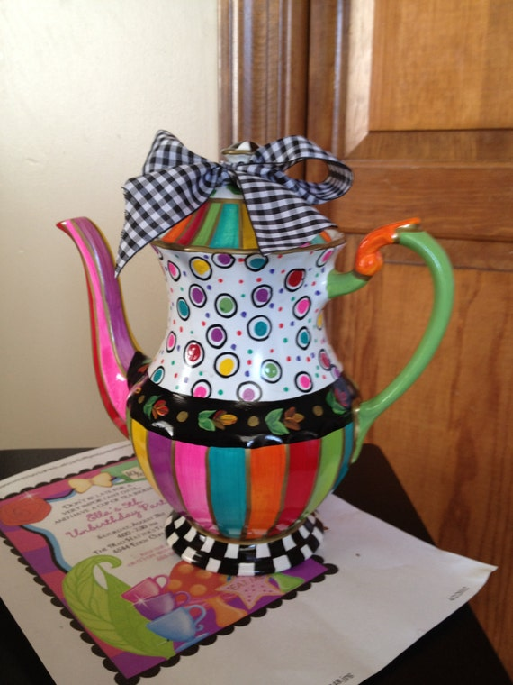 Painted Teapot // Custom Painted Teapot // Whimsical Painted Teapot