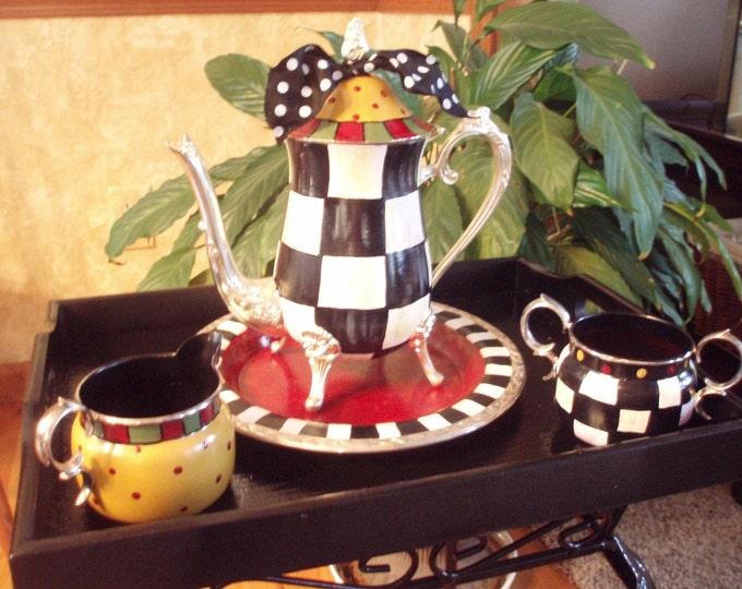 Painted Tea Set // Whimsical Painted Silver Tea Set // Silver Tea Set
