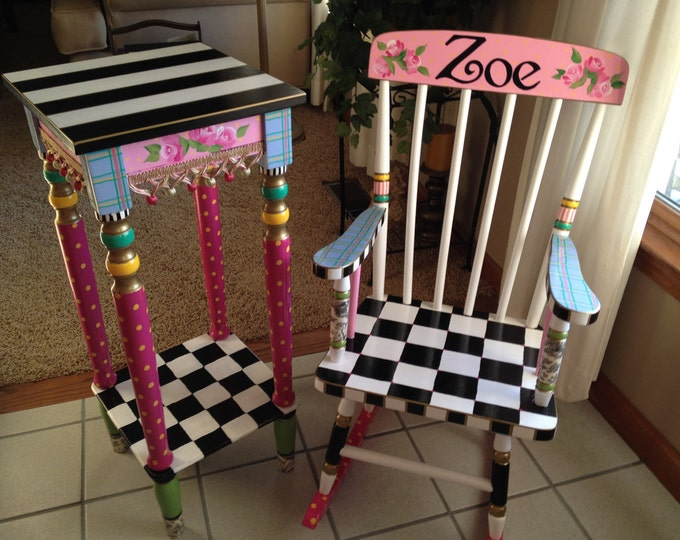 Whimsical Painted Furniture, Whimsical painted rocking chair // painted youth rocking chair // painted rocker