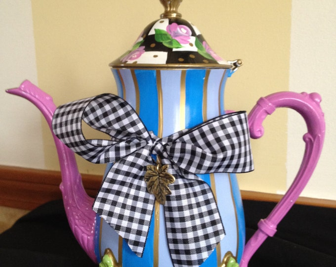 Whimsical Painted Teapot // Custom painted teapot // Painted silver teapot