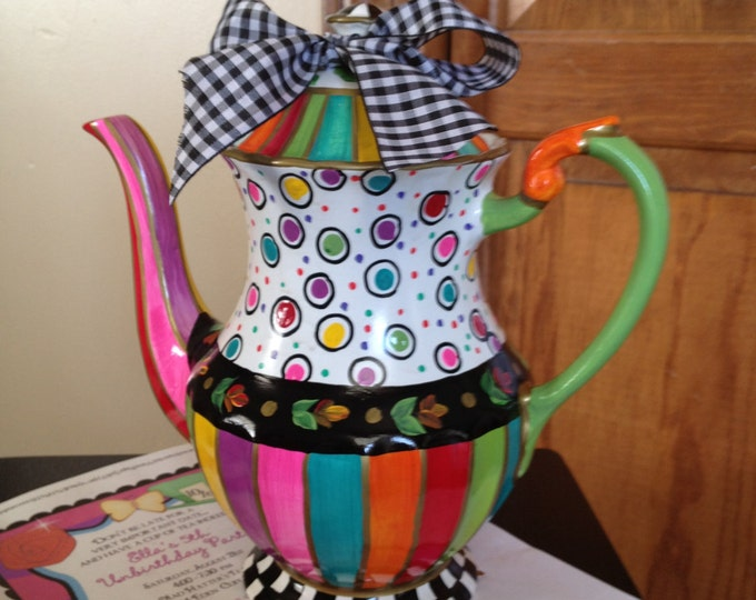 Whimsical Painted Teapot // Custom Painted Teapot // Whimsical Painted Teapot
