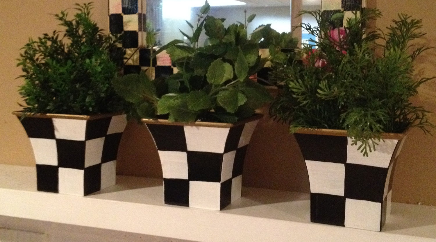 Hand Painted Black And White Herb Pots Planters