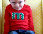 Christmas red super cute long or short sleeve initial t shirt.  2/4/6/8/10/12 american apparel