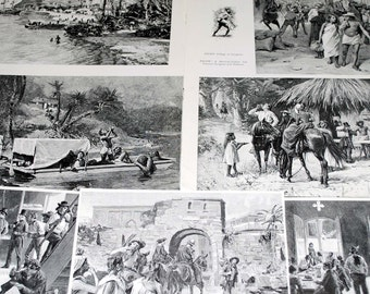 Woodcut Prints of Tourist Travel to Panama in 1800s from vintage magazine 7 pieces