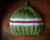 Green, Blue and Red Beanie - newborn