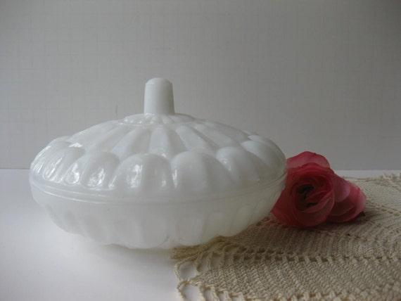 Unique Vintage Milk Glass Candy Dish