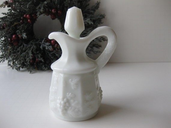 Westmoreland Milk Glass Paneled Grape Cruet