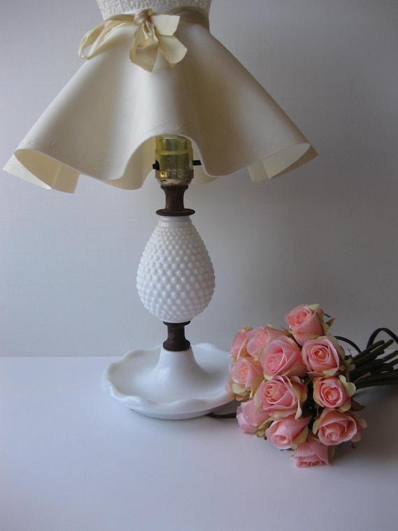 RESERVED Vintage Milk Glass Hobnail Lamp