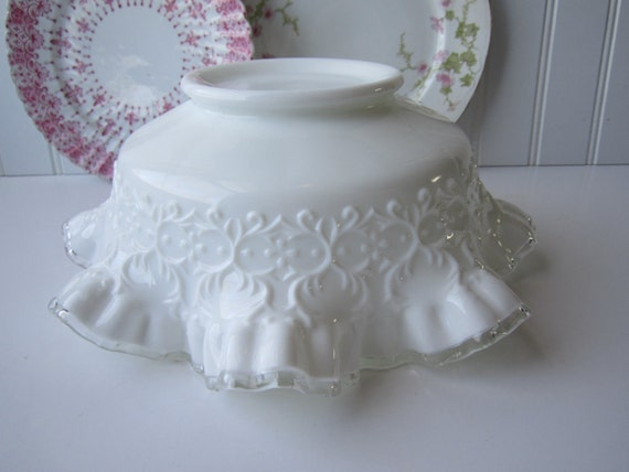 Vintage Fenton Milk Glass Spanish Lace Serving Bowl