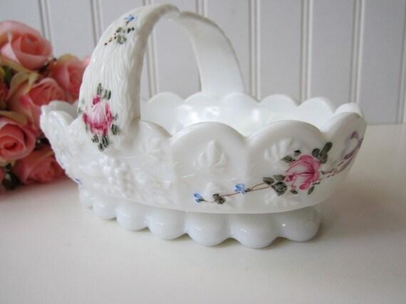 Vintage Westmoreland Roses & Bowls Milk Glass Basket