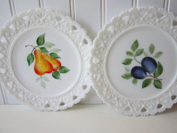 Vintage Milk Glass Fruit Decorative Plate Pair