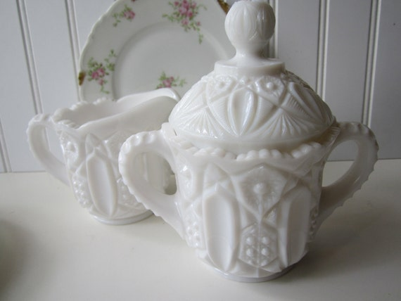 RESERVED ITEM Vintage Milk Glass Daisy & Buttons Cream and Sugar Set
