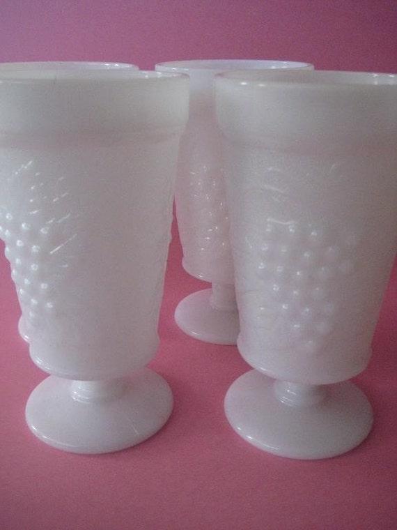 CUSTOM LISTING  Vintage Milk Glass Grapevine Footed Tumblers Set of 4