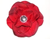 Adorable Layered Flower Clip with Rhinestone Center--You Choose the Color
