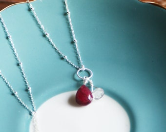 "FavoriteThings: Ruby and Quartz Sterling Silver Necklace on a beaded sterling ""satellite"" chain"