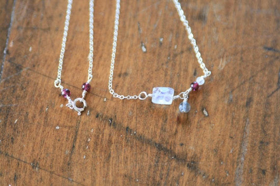 Temptation: Moonstone, Garnet and Labradorite Necklace