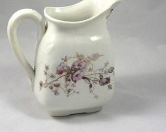Iron Stone Pitcher with Pink and Lavender Morning Glories