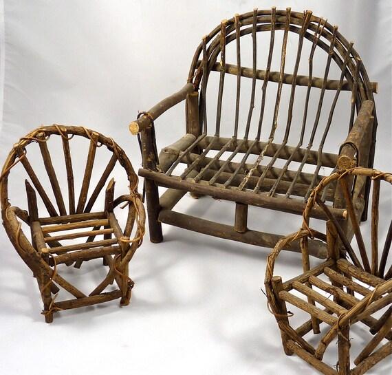 Three piece doll furniture adirondack style settee with two - Adirondack style bedroom furniture ...