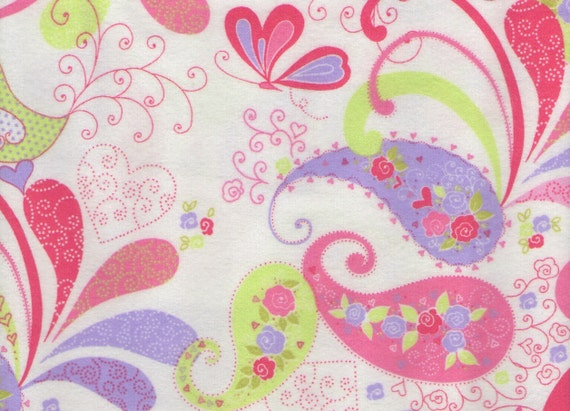 Delicate Paisley 100% cotton cozy flannel fabric 1 yard x 44 inches
