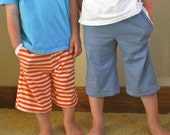 Ethan: Long Shorts with Pockets... PDF Sewing Pattern and Tutorial... Size 2T to 6