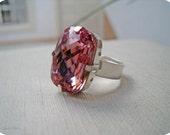Soft Pink Ring Swarovski Crystal Sterling Silver