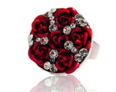 Red Roses Ring Swarovski Crystal Silver Plated