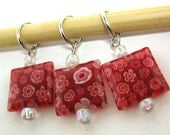 Stitchamabob Stitch Markers - Red Millefiore Squares - US 10.5