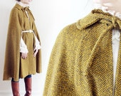 long Vintage 1960s mustard yellow\/gold and grey\/gray Herringbone Cape with exquisite lining