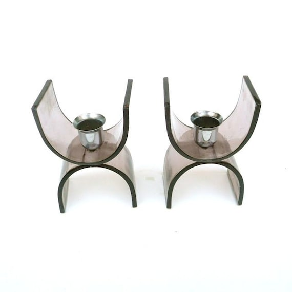 Plexi and Stainless Candlesticks