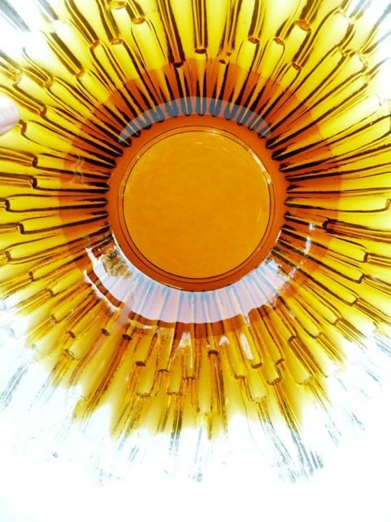 Finland Art Glass Humppila Starburst Bowl Amber Color