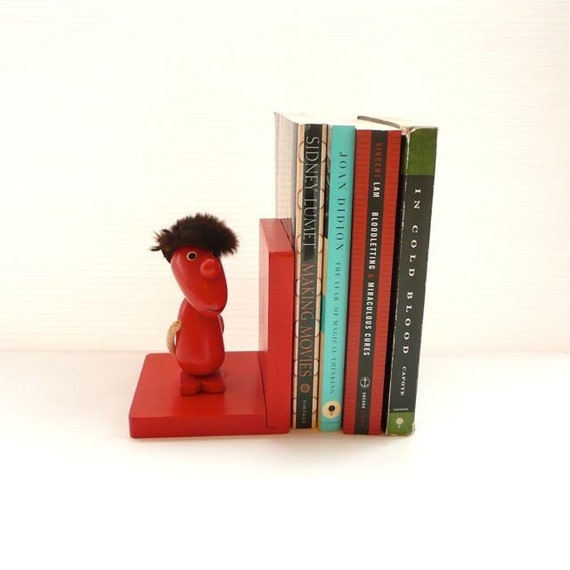 Bright Red Wooden Bookend with Character Japan