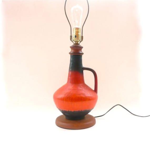 Mid Century Modern Ceramic Lamp Bright Orange and Brown