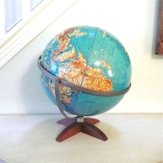 "Weber Costello 12"" Physical Contour Relief World Globe 1968"