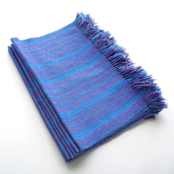 6 Woven Placemats in Mauve, Pink, Purple and Blue