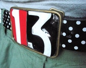 Superstitious Number 13 Belt Buckle - Recycled License Plates