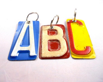 Custom Letter Key Chain -  Recycled License Plates