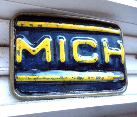 Michigan Belt Buckle - Recycled License Plates